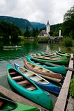 Canoes on the Lake Bohinj Royalty Free Stock Photos