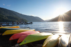 Canoes by a lake Royalty Free Stock Images