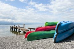 Canoes at Lake Leman Stock Images