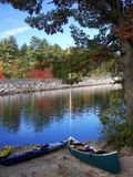 Canoes at Lake Massabesic. On a fall day stock photo
