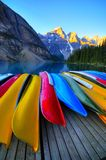 Canoes at Lake Moraine Canada. Canoes rest on the dock of Lake Moraine, Banff, Canada Stock Photo