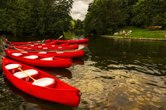 Canoes on a lake Stock Photo