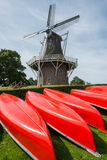 Canoes with Mill Stock Photography