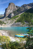 Canoes at the Moraine Lake Stock Photos