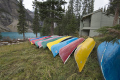 Canoes at Moraine Lake, Banff, Alberta, Canada. Royalty Free Stock Photography