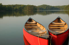 Canoes On The Lake Royalty Free Stock Photography