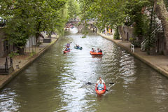 Canoes in oude gracht in centre of utrecht Royalty Free Stock Photos
