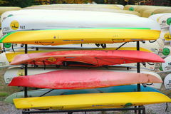 Canoes on Racks stock images