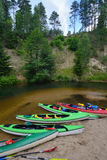 Canoes on river Stock Images