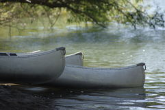 Canoes on the river Stock Images