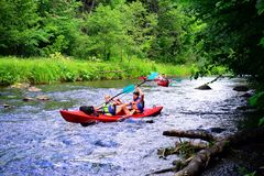 Canoes in River Vilnele near Entertainment and Recreation Center Belmontas Stock Image