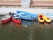 Canoes and rowing boats. Bad Kreuznach, Germany 2014 Stock Photos