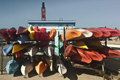 Canoes on the Santa Cruz Wharf. This is a picture of canoes on the Santa Cruz wharf royalty free stock photography