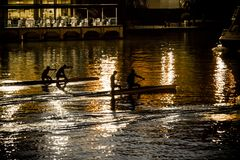 Canoes in Sevilla. Seville, Spain. Closeup of canoes in the river Guadalquivir at sunset royalty free stock photo