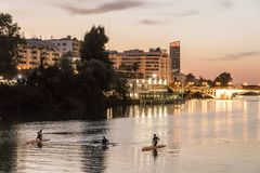 Canoes in Sevilla stock images