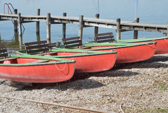 Canoes on the Shore Stock Images