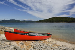 Canoes on the shore Stock Photo