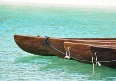 Canoes Tied Together Near the Beach Stock Photos