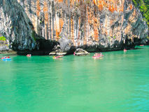 The canoes at trip to Phang Nga National Park in Thailand Stock Photos