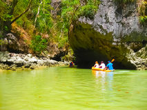The canoes at trip to Phang Nga National Park in Thailand Royalty Free Stock Photos