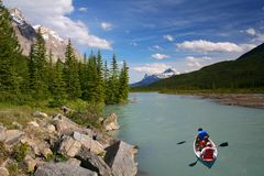 Canoing dans le fleuve de proue en stationnement national de Banff Images libres de droits