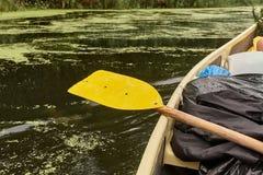 Canoing en un río Fotografía de archivo libre de regalías