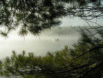 Canoing on misty lake Stock Images