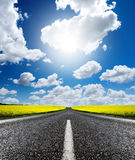 Canola Road. Road travelling through a Canola Field stock images