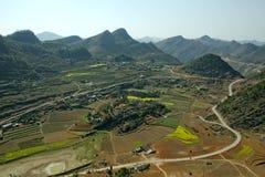 Canolagebied in vallei stock afbeelding