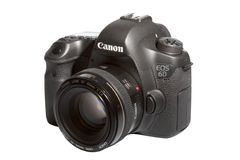 Canon 6D. The latest full-frame DSLR camera Canon 6D that it was announced at 17 September 2012 isolated on white Royalty Free Stock Photo