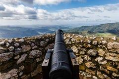 Canon ad Eagle Castle, Gaucin, Spagna Fotografie Stock Libere da Diritti