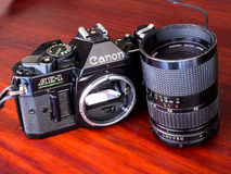 Canon AE-1 program is old classic film camera Royalty Free Stock Photos