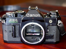 Canon AE-1 program is old classic film camera Stock Image