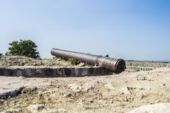 Artillery Canon. Ancient Artillery Iron Canon on the Mughal Era Fort, India Royalty Free Stock Image