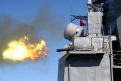 Canon antiaérien naval russe. photo libre de droits