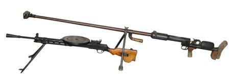 Canon antichar et mitrailleuse de Degtyaryov Photographie stock