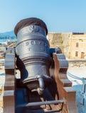 Canon antiguo dentro de la fortaleza vieja, Kerkyra, Corfú, Grecia Fotografía de archivo libre de regalías