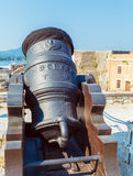 Canon antique à l'intérieur de vieille forteresse, Kerkyra, Corfou, Grèce Photographie stock libre de droits