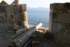 Canon Ball. From the top of Bodrum Castle, Turkey Stock Images