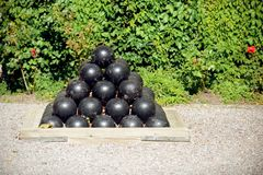 Canon balls stacked Royalty Free Stock Images