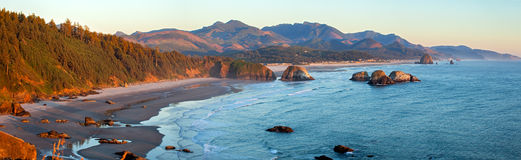 Canon Beach. Sunset lit Canon Beach in Oregon royalty free stock photo
