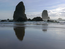 Canon Beach. Oregon at low tide just before sunset Royalty Free Stock Photo