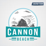 Canon beach rock in the sea with sun vintage vector Royalty Free Stock Images