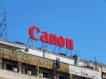 Canon building advertisement. Large Canon advertisement on the building in Belgrade, Serbia. July 20 2018 royalty free stock photography
