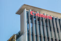 Canon building with red logo design in Tokyo Japan on March 30, 2017| Camera technology manufacture modern business | Photography Stock Photos