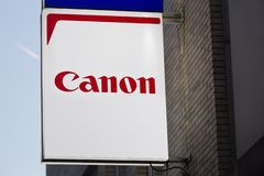 Canon camera sign in bochum germany stock images