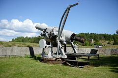 Canon. In Vaxhom fortress, Sweeden stock photography