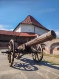 Canon in the citadel of Targu Mures, Romania with a tower of the ancient castle in the background royalty free stock photo