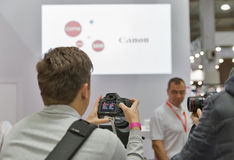 Canon company booth at CEE 2015, the largest electronics trade s Royalty Free Stock Photos