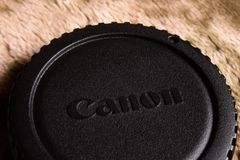 Canon cover for camera use stock photo